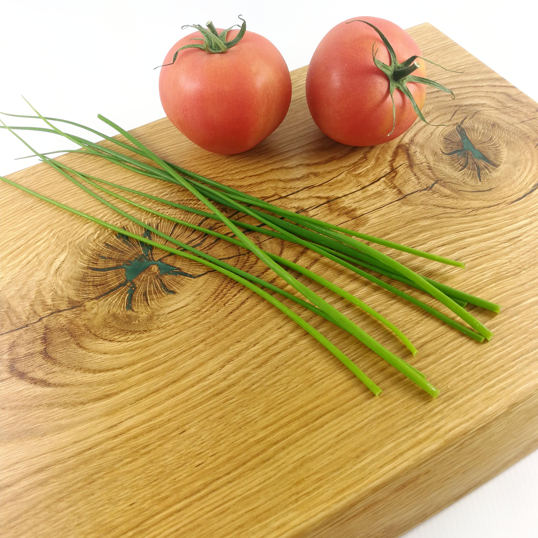 Oak cutting board & green epoxy